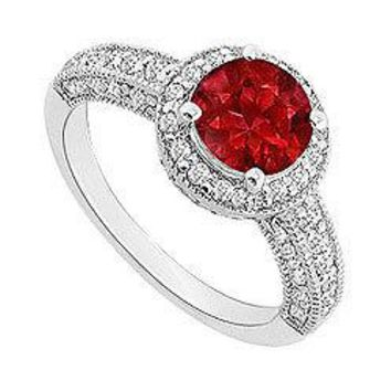Ruby and Diamond Halo Engagement Ring : 14K White Gold - 1.55 CT TGW