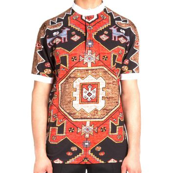Contrast-Collar Persian-Print Polo Shirt, Red