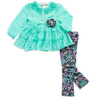 G&W Industries Baby Girls Two Piece Chiffon Floral Set