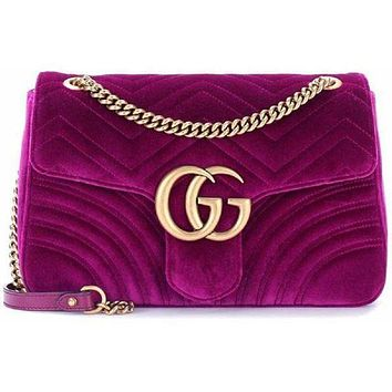 Gucci Trending Women Metal Double G  Medium Velvet Shoulder Bag I
