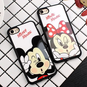Luxury Fashion Mickey Minnie Mirror Case Cover For iPhone 7 7 Plus 6 6S Plus Capa Couple Case For iPhone 6 6s 7 Plus Fundas