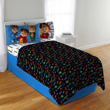Alvin and the Chipmunks School of Rock Kids Polyester Bedding Sheet Set Multicolor Twin