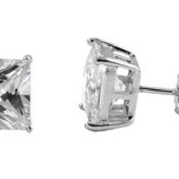 925 Sterling Silver CZ Rhodium Plated Casting Square Stud Earrings CZ DIAMOND April Birthstone