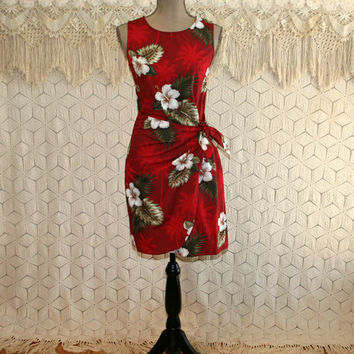 90s Red Hawaiian Dress Sleeveless Midi Sarong Cotton Summer Beach Tropical Hibiscus Floral Print Fitted XS Small Womens Vintage Clothing