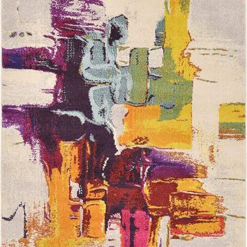 9911 Multi-Color Abstract Contemporary Area Rugs