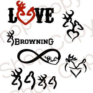 Browning SVG, Browning Deer Antler Family Instant Download for Silhouette Cameo or Cricut, Browning logo, deer, hunting, stag vectors