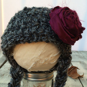 Baby Hat size 0-12 mos, Charcoal Grey Baby Hat, Fanciful Fall 2015 Collection, Baby Hat, Newborn Pictures, Photo Prop, Photography Prop