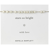 Buy Estella Bartlett Star So Bright Silver Plated Adjustable Cord Friendship Bracelet | John Lewis