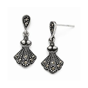 Sterling Silver Marcasite Dangle Post Earrings