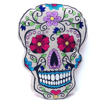 This is a great piece for your home furnishing decor, featuring pretty large size and comfortable embroidered pillow, filled with felt inside, neutral color with multi color sugar skull embroidered detailing at front, and finishing with fuchsia color on th