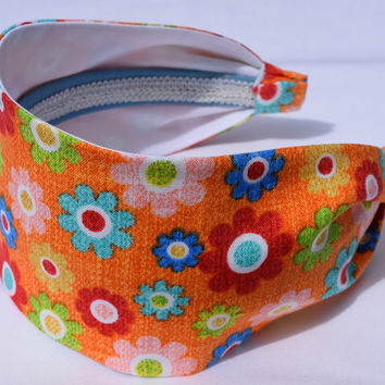 "Flower Power Wide 3"" Headband. Woman's Headband. Fabric Headband. Scarf Headband."