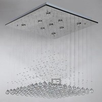 Concise Ultra Long Chrome Square Pendant Lights with 9 Lights