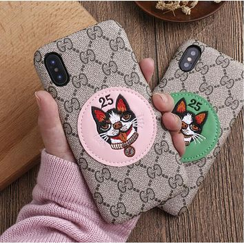 GUCCI Stylish Women Men Embroidery Dog iPhone Phone Cover Case For iPhone X phone Shell 6s iPhone 8plus Hard Shell I12071-1
