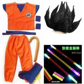 ESBON Dragon Ball GoKu Cosplay Costume Adult /Child Anime cosplay clothes Top+ pants + wrist + shoe cover + tail + stick + wig + belt