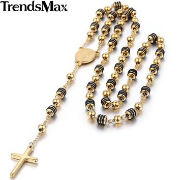 Stainless Steel Bead  Rosary Necklace