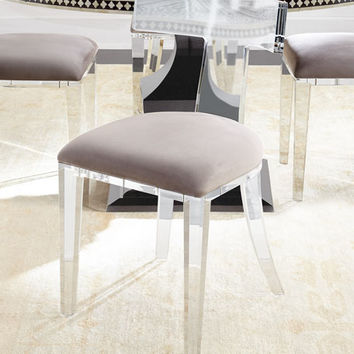 Bernhardt Vivian Inlay Dining Table & Nessy Acrylic Dining Chair