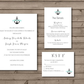Elegant Simple Anchor Printable Wedding Invitation or Wedding Suite: Choose Your Banner Color