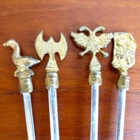 Vintage Hollywood Regency Greek Mythology Brass and Steel Skewers