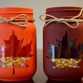 Fall Mason Jar, Set Fall Decor, Mason Jar Decor, Leaf Mason Jar, Leaf Decor, Pint Mason Jar, Leaf Silhouette Mason Jar, Set of Two Jars