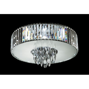 Trans Globe Lighting MDN-1141 Polished Chrome Chimes 23-Inch Crystal Flush Mount with Cubic Cut Crystal Shade, Frosted Glass Diffuser