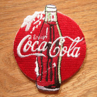Coca Cola Soda Drink Enjoy Red White Iron on Patch, Applique, Sewing patch