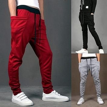 Men Drawstring Jogger wear Baggy Harem Pants Slacks Trousers Sweatpants