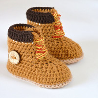 "Crochet PATTERN boots for baby boys fall booties ""Timberland"" Construction Boot Crochet Pattern, Yellow, PATTERN ONLY"