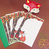 Woodland fox stationery letter set