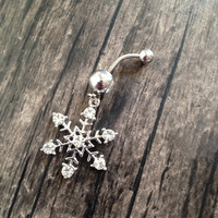 Snowflake  belly button jewelry, bellybutton ring, Body jewelry.