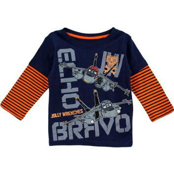 Disney Little Boys' Planes Jolly Wrenches Long Sleeve Tee, Peacoat, 2T