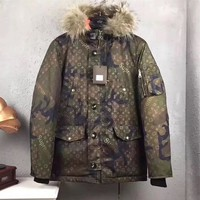 """""""Louis Vutitton x Supreme"""" Women Fashion Camouflage Letter Logo Long Sleeve Fur Collar Hooded Cotton-padded Clothes Coat"""