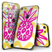 Pink And Yellow Descending Droplets - 4-Piece Skin Kit for the iPhone 7 or 7 Plus