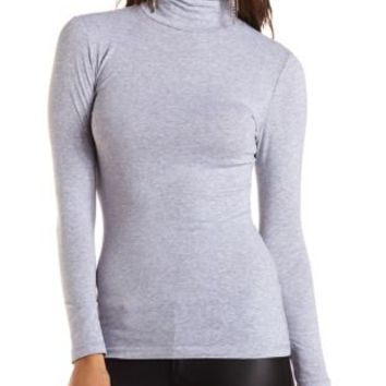 Heather Gray Ruched Long Sleeve Turtleneck Top by Charlotte Russe