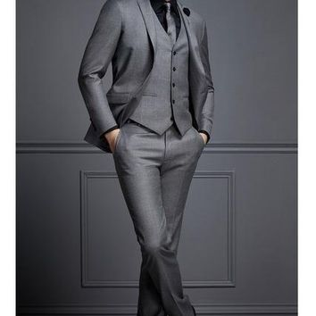 tailor made grey formal men suit slim fit blazer masculino business marriage blazer custom style prom tuxedo 3 piece terno