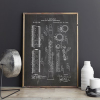 Clarinet Printable, Clarinet, Orchestra Printable, Music Room Print,Big Band Printable,Instrument Poster,Jazz Decor,Patent, INSTANT DOWNLOAD