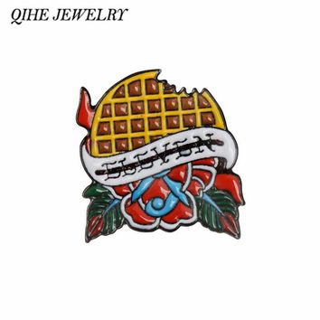 QIHE JEWELRY Eleven's Waffle Stranger Things Enamel pins Lapel pins Badges Brooches for men women Cloth Backpack Accessories