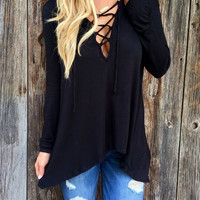 Black Plunge Lace Up Front Long Sleeve Hooded T-shirt