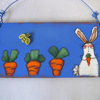 Spring Time, Bunny and Carrots, Plaque, Whimsical, Tole Painted