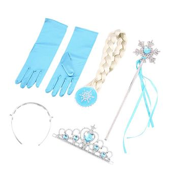100% Brand New 4Pcs/set Princess Elsa Anna Hair Accessories Crown Wig Magic Wand Glove for Kids Party