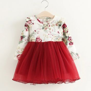 Long Sleeve Floral Ruffled Dress
