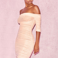 Clothing : Bodycon Dresses : 'Tahan' Blush Gathered Mesh Off Shoulder Dress