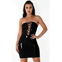 Hold Me Tonight Black PVC Strapless Vinyl Plunge V Lace Up Faux Patent Leather Bodycon Mini Dress