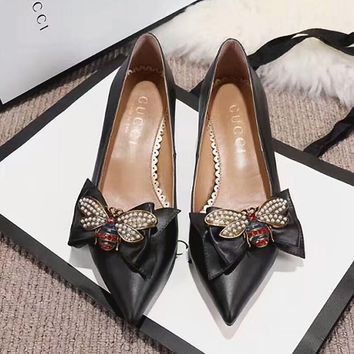 GUCCI Little Bee Women Fashion Heels Shoes 3.5CM
