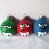 M&M Painted Holiday Christmas Ornament Set of 3