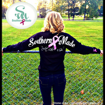 Special Edition Southern Made Long Sleeve Breast Cancer Tee Shirt ~ Glitter