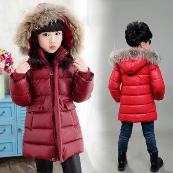 Boys Girls Winter Coat Kids PU Leather Waterproof Windproof Warm Outerwear Fur Collar Hooded Children Boy Winter Thicken Jacket