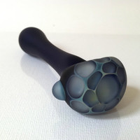 Glass Pipe, Spoon Pipe, Sandblasted Fume Honeycomb Spoon Pipe made of Borosilicate