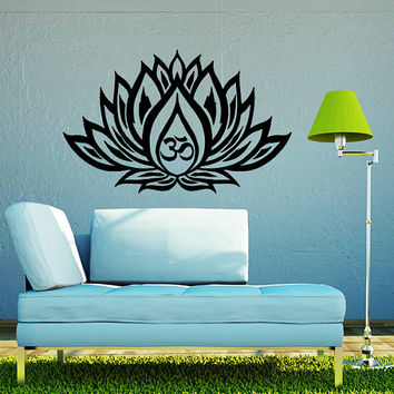 Wall Decals Lotus Flower Vinyl Sticker Decal Art Home Decor Mural Mandala Ornament Indian Geometric Moroccan Pattern Yoga Namaste Om AN380