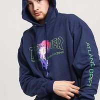 Thrasher Autumn And Winter New Fashion Bust Letter Colorful Jellyfish Print Hooded Long Sleeve Women Men Sweater Top Blue