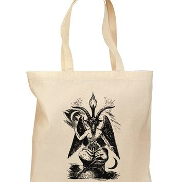 Baphomet Illustration Grocery Tote Bag by TooLoud
